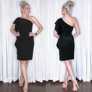One Shoulder Ruffle Black Cocktail Dress